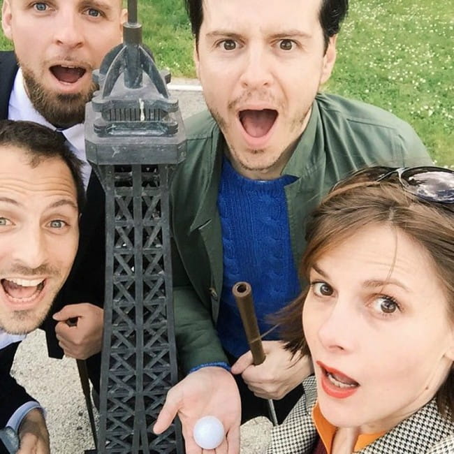 Andrew Scott in a selfie with his friends as seen in April 2016