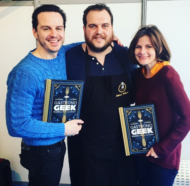 Andrew Scott with Thibaud Villanova and Louise Brealey in April 2016
