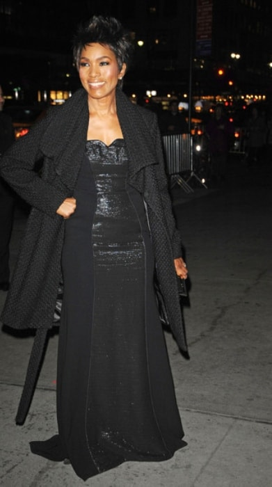 Angela Bassett sporting a black dress at the National Board of Review Awards Gala in New York City in January 2013