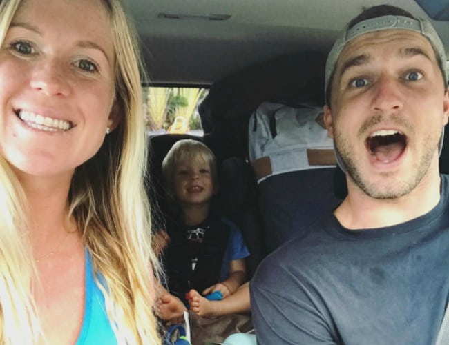 Bethany Hamilton in a selfie with her family in January 2018