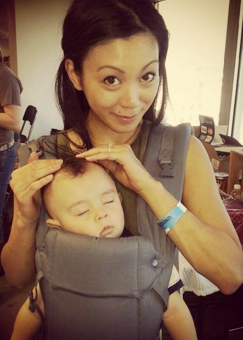 Brittany Ishibashi in an Instagram post in with her son as seen in December 2014