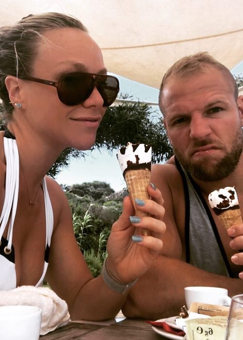 Chloe Madeley having ice-cream with James Haskell in June 2018