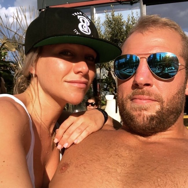 Chloe Madeley with James Haskell in July 2018