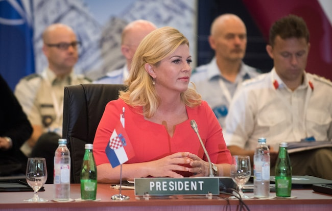Croatian President Kolinda Grabar-Kitarović at the NATO Military Committee Conference in Split, Croatia in 2016