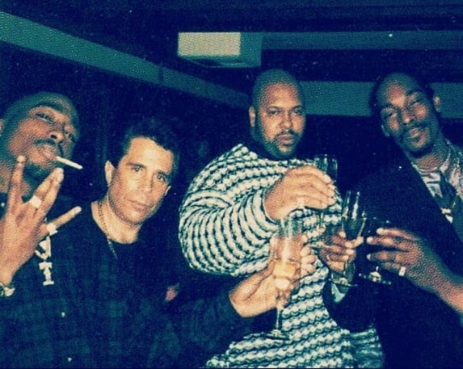 From left to right - Tupac Shakur, David Kenner, Suge Knight, Snoop Dogg