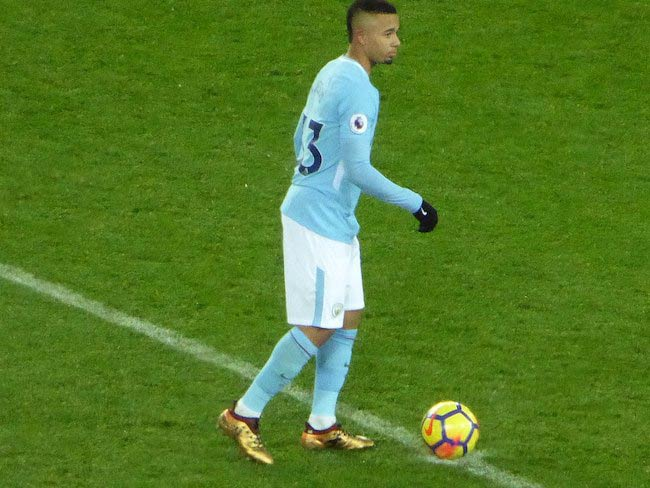 Gabriel Jesus in a match of Manchester United vs Manchester City in December 2017