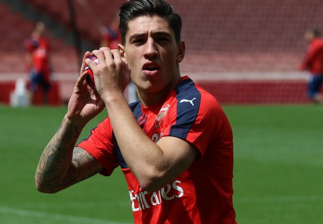 Héctor Bellerín during the 2015 Arsenal Members' Day Open training session