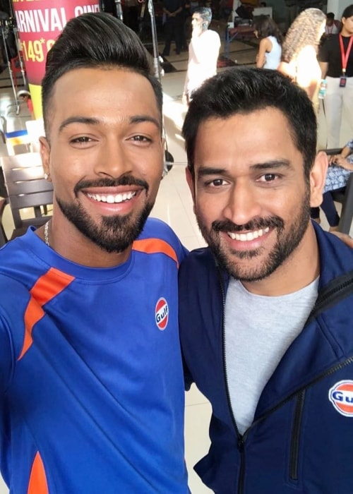 Hardik Pandya with M.S. Dhoni (Right) as seen in March 2018