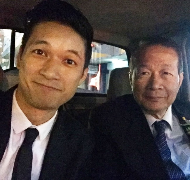 Harry Shum Jr. celebrating father's day through a selfie with his father on June 2017