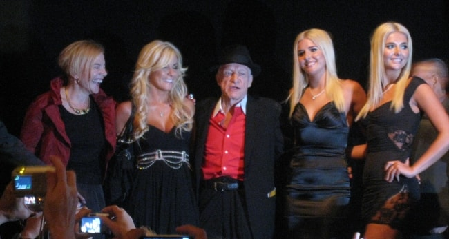 Hugh Hefner with the Playboy Bunnies in September 2009
