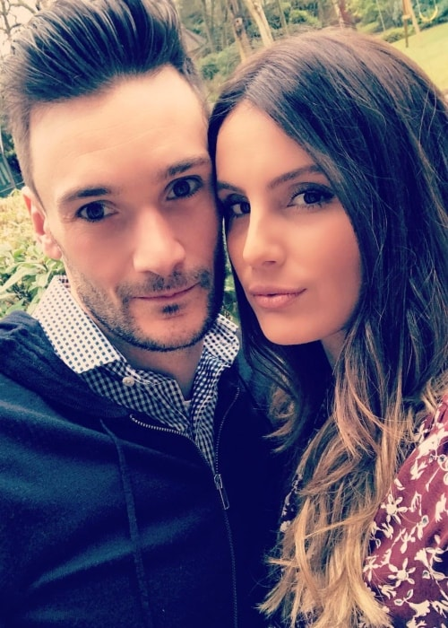Hugo Lloris in a selfie with his wife Marine Lloris in London in April 2018