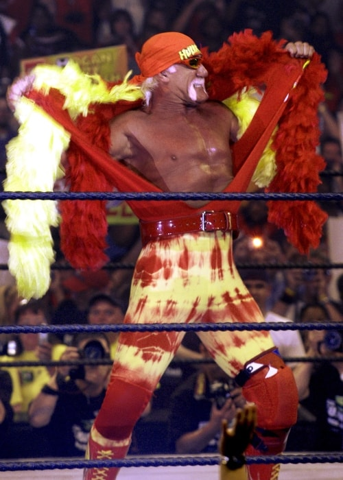 Hulk Hogan posing inside the ring in August 2005