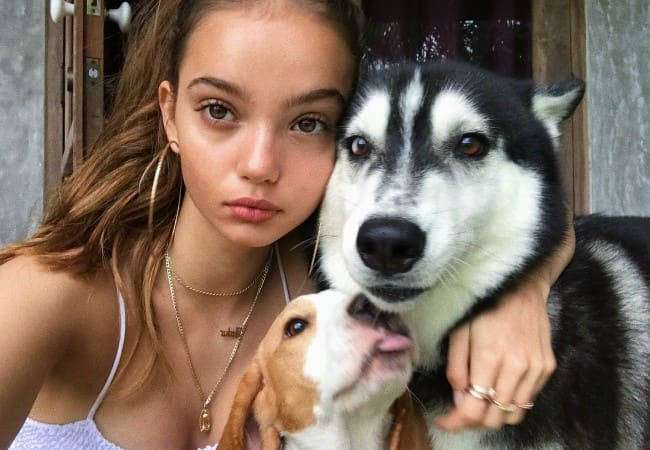 Inka Williams in a selfie with her dogs as seen in December 2017