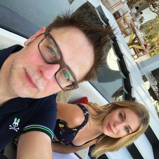James Gunn in a selfie with Jennifer Holland in July 2018