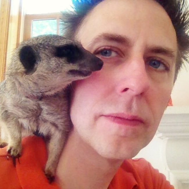 James Gunn in a selfie with his pet meerkat, Timone in June 2018