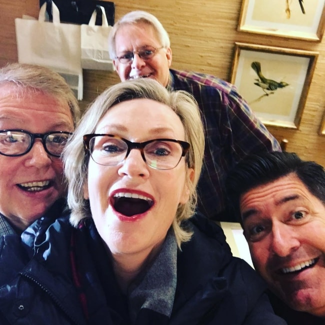Jane Lynch in a group selfie in December 2017
