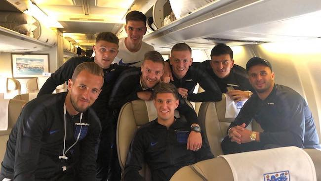 John Stones (sitting at the center) with his English teammates in June 2018
