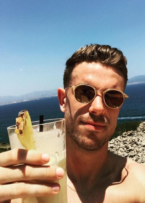 Jordan Henderson in an Instagram selfie on his birthday in June 2017