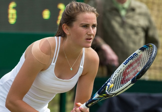 Katy Dunne competing in the first round of Wimbledon Qualifying Tournament in June 2015