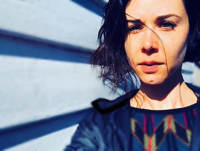 Kestie Morassi in a selfie in May 2018 at Randwick, New South Wales, Australia