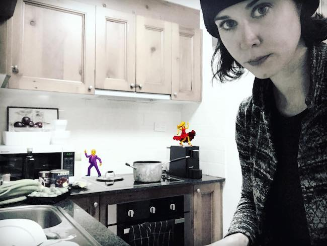 Kestie Morassi in the middle of making soup in her kitchen in April 2018