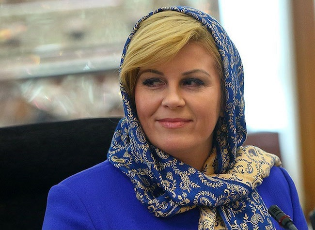 Kolinda Grabar-Kitarović during a meeting with Ali Larijani spokeman of Parliament of Iran in May 2016