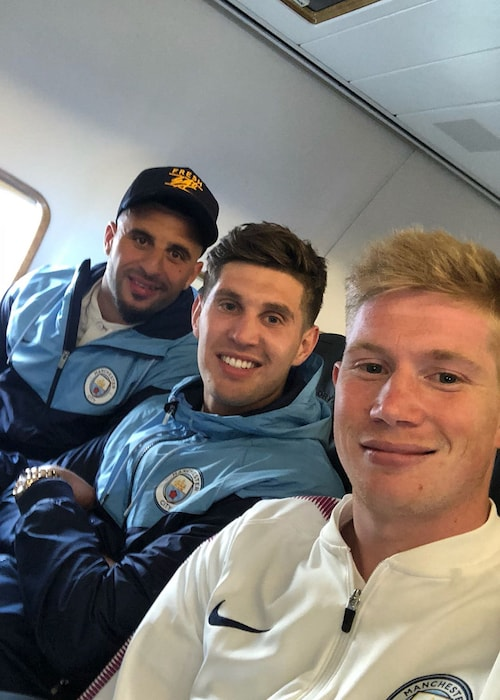 Kyle Walker, John Stones, and Kevin De Bruyne (From Left) in May 2018