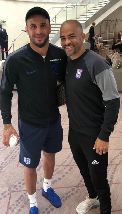 Kyle Walker (Left) with Kieron Dyer in May 2018