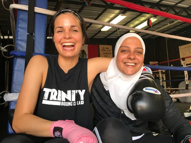 Lina Esco (Left) with Omnia Zaied at Trinity Boxing Club in LA in July 2018