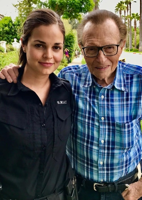 Lina Esco with Larry King in August 2017