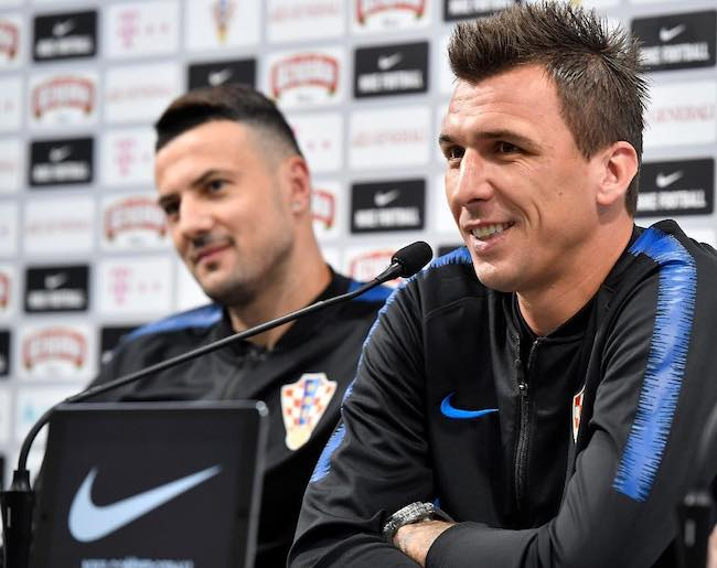 Mario Mandžukic interacting with media during a press conference in June 2018