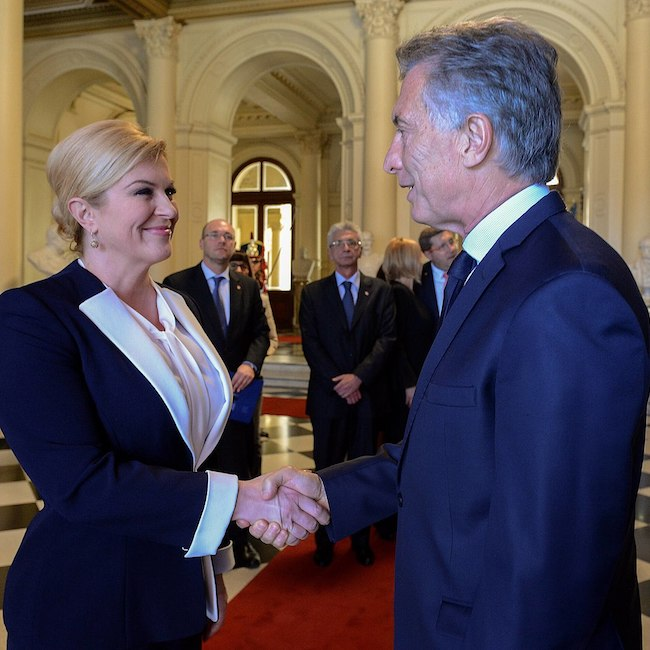 Mauricio Macri during a meeting with Croatian President Kolinda Grabar-Kitarović in March 2018