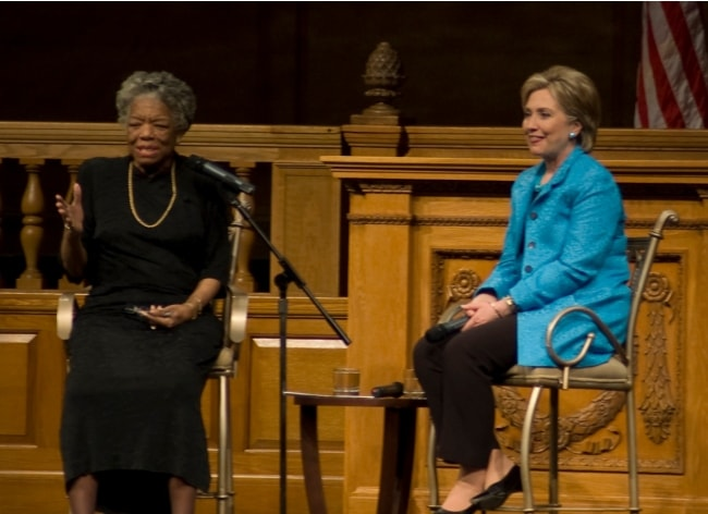 Maya Angelou (Left) with Hillary Clinton during an event in North Carolina in 2008