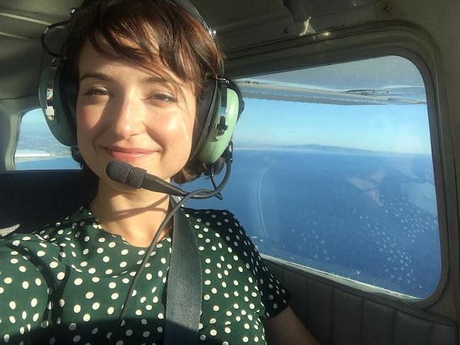 Milana Vayntrub helicopter selfie in March 2017