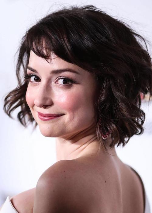 Milana Vayntrub smiling during a picture clicked at Chateau Marmont Hotel in February 2017