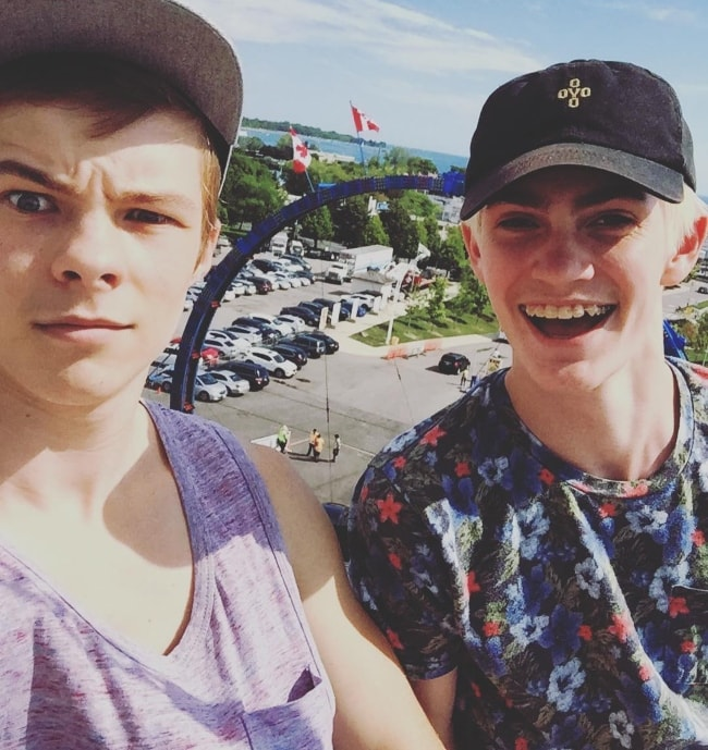 Nicholas Hamilton (left) with Logan Thompson (right) in an Instagram selfie August 2016