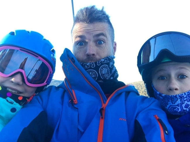 Pete Evans on an adventure with the family in July 2018