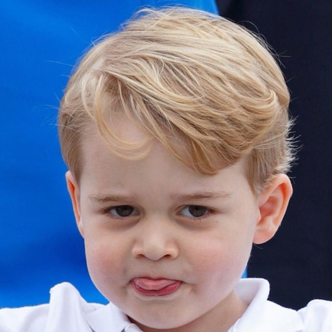 Prince George posing for the paparazzi