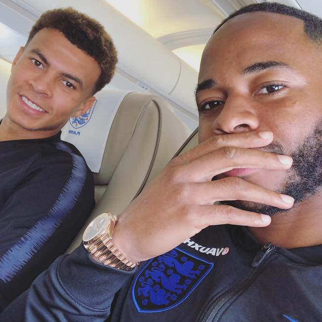 Raheem Sterling and fellow player Dele Alli in June 2018