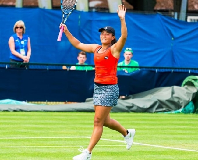 Tara Moore as seen during a tennis match
