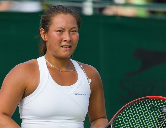 Tara Moore competing at the Wimbledon Qualifying Tournament in England in June 2015