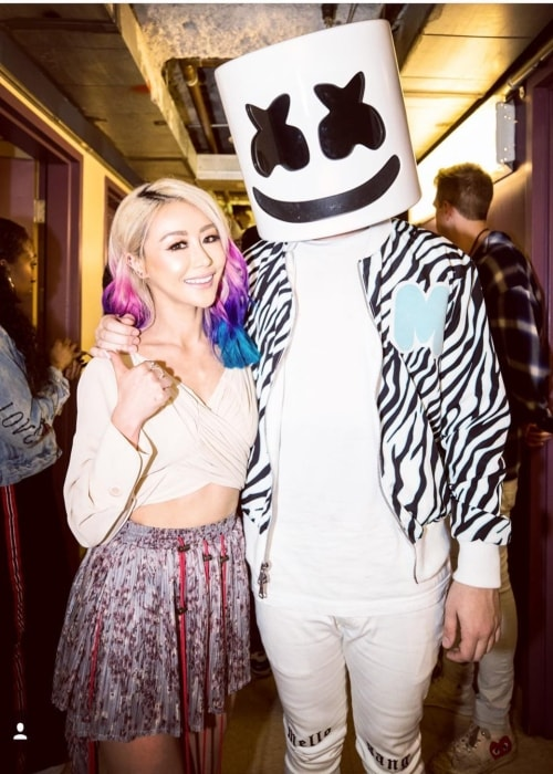 Wengie posing with DJ Marshmellow in July 2018