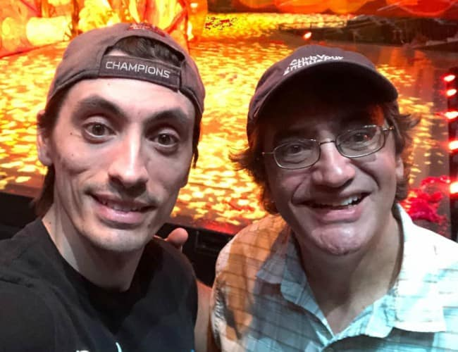 Aaron Schoenke (Left) in a selfie with his dad as seen in June 2018