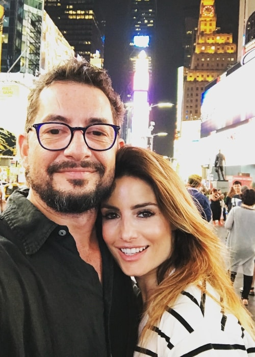 Ada Nicodemou with Adam Rigby at Times Square, New York in July 2018