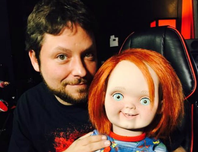 Alex Vincent with the Chucky doll as seen in February 2018