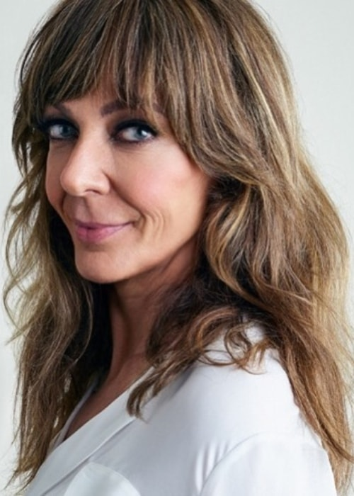Allison Janney with her hair styled in bangs