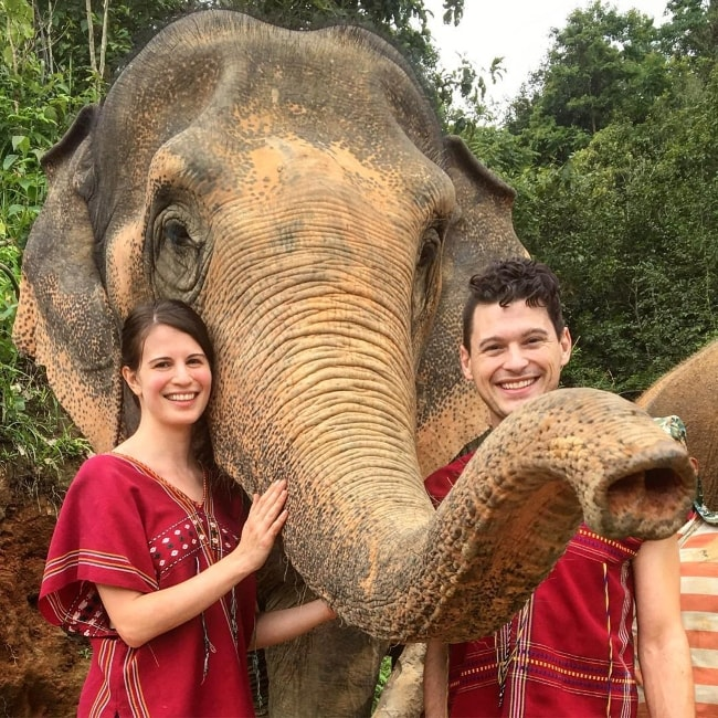 Amelia Rose Blaire with Bryan Dechart at Happy Elephant Care Valley in August 2018