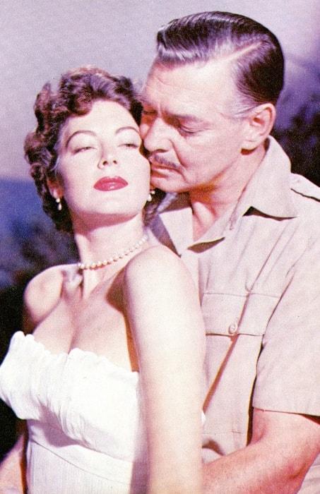 Ava Gardner posing with Clark Gable