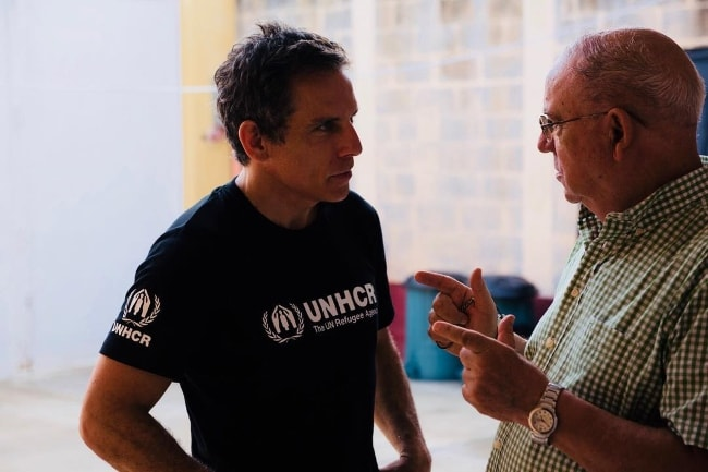 Ben Stiller (Left) with Father Paco who contributes to the UNHCR shelter in Guatemala