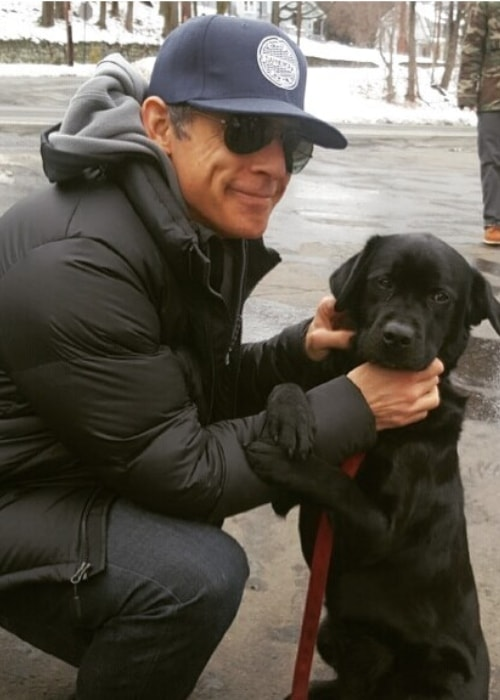 Ben Stiller with an arson detecting police dog named Daisy